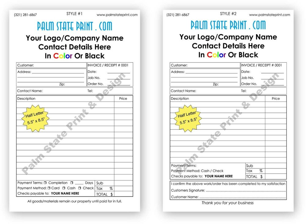 50 2 part personalized duplicate carbonless invoice sales