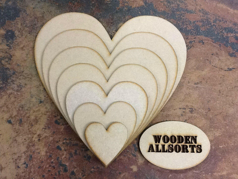 Mdf wooden hearts shape 4mm thick mdf craft and for Wooden hearts for crafts