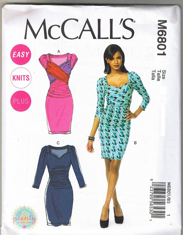Stretch Knit Sewing Patterns : Easy Ruched Stretch Knit Cross Body Dress McCalls Sewing Pattern Sz 18 20 22 ...