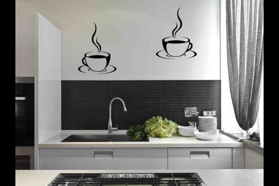 2 Coffee Cups Stickers Kitchen Tiles Wall Dinning Room Diy