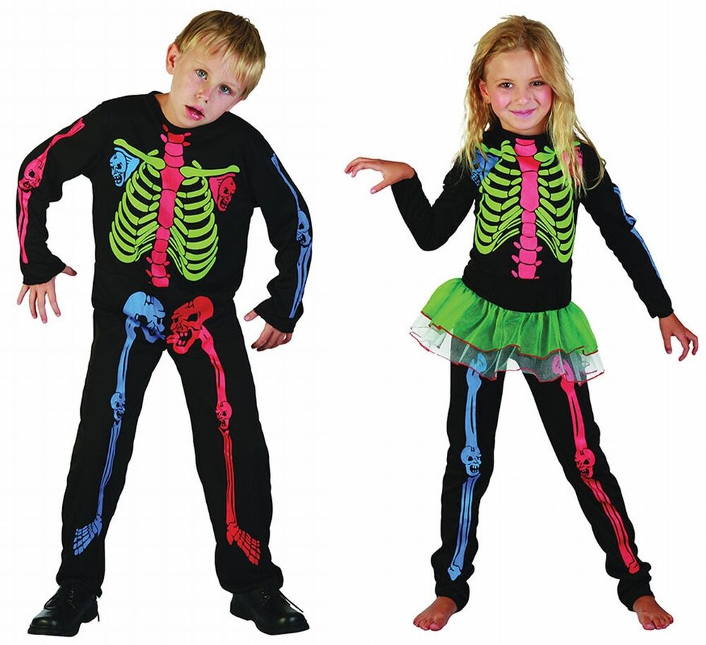 boys girls fancy dress halloween skeleton costume outfit 4 5 6 7 8 9 10 11 12 1 ebay