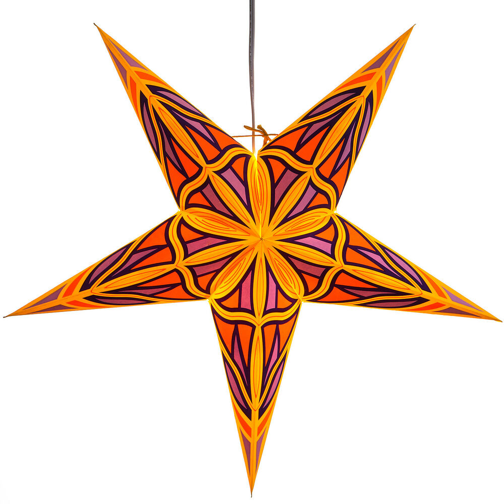 Mosaic paper star light lamp lantern with 12 foot cord for Paper star lamp