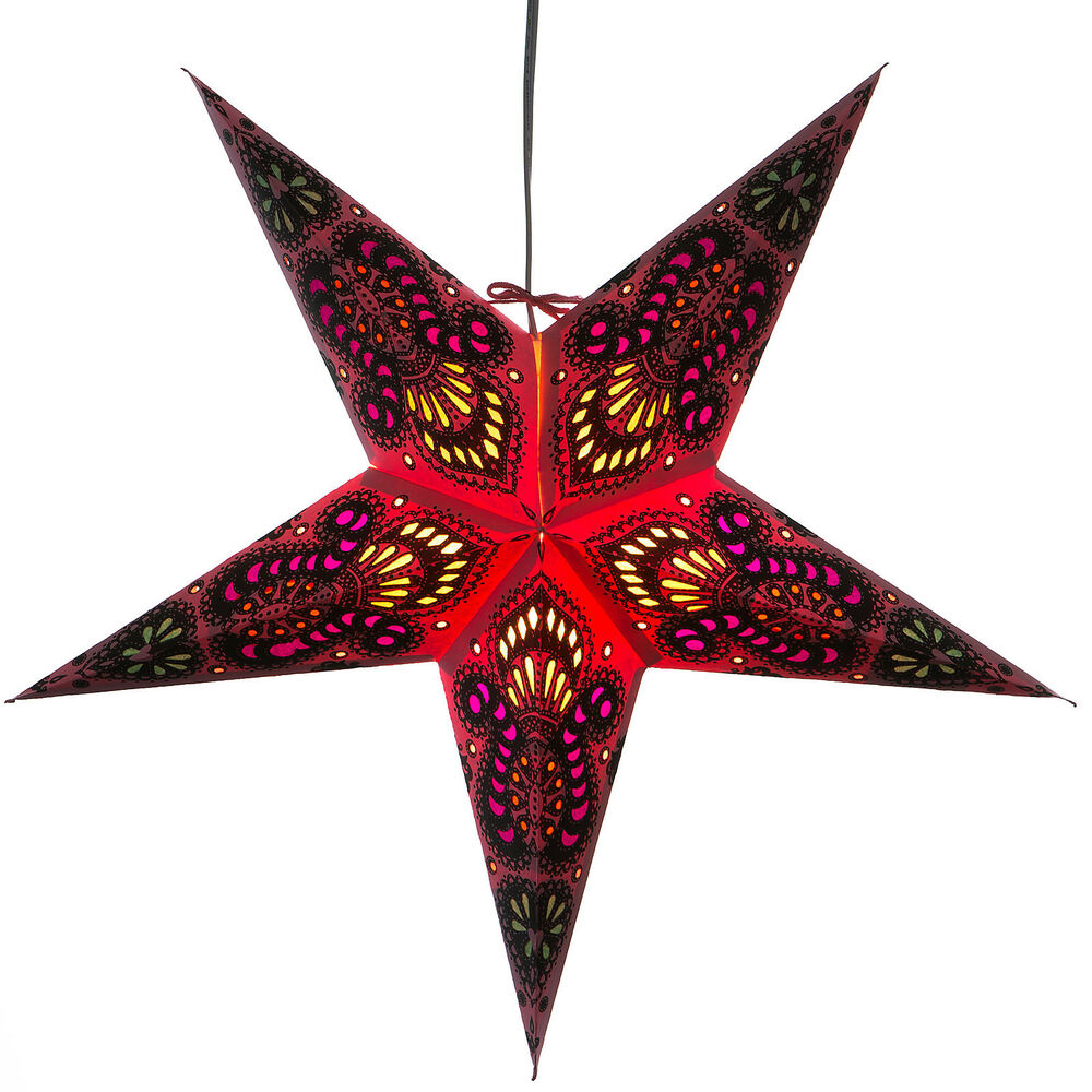 Peacock red paper star light lamp lantern with 12 foot for Paper star lamp
