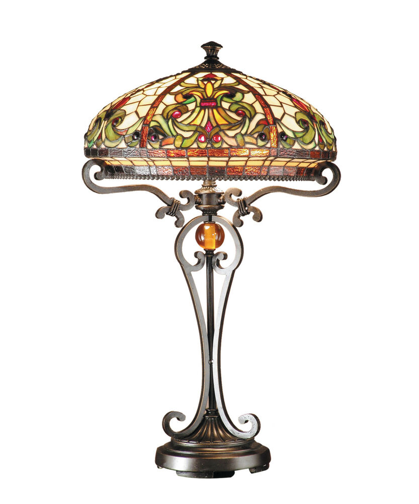 real stained glass tiffany style large table lamp ebay. Black Bedroom Furniture Sets. Home Design Ideas