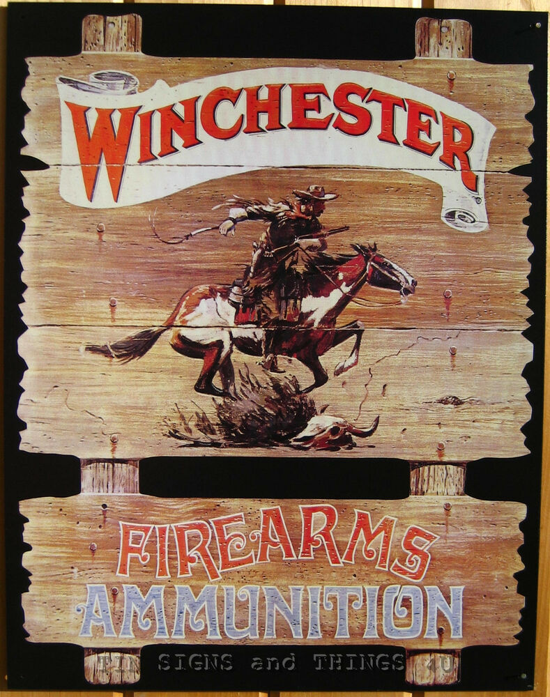 Winchester Firearm Cowboy Tin Sign Vtg Ammo Western Metal