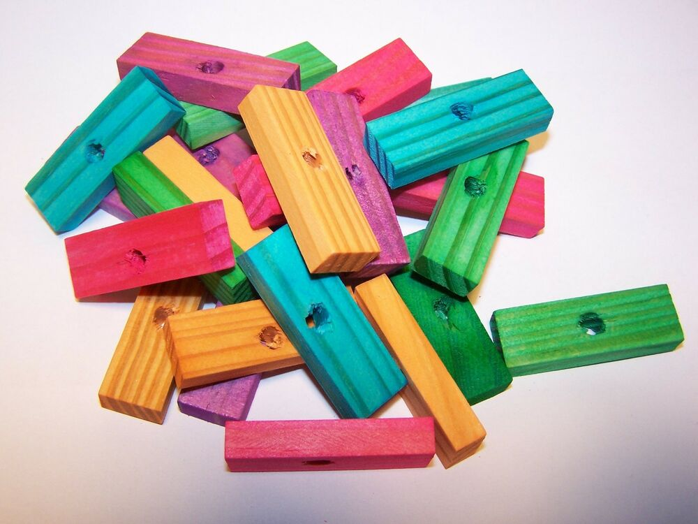 Colored Wood Blocks ~ Wood blocks quot colored wooden parrot bird toy parts w