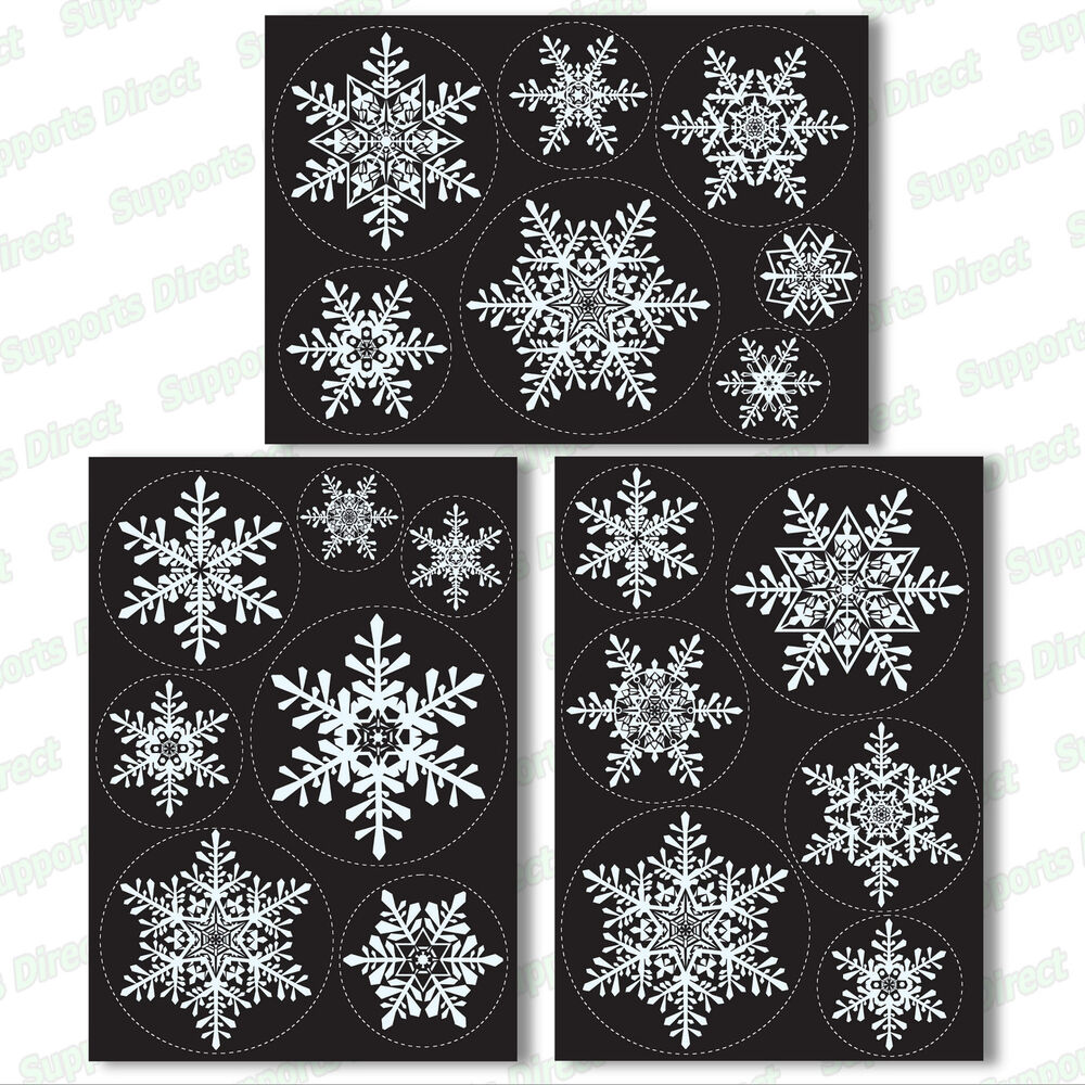 20 Large Snowflake Window Clings Reusable Stickers Simple Christmas ...