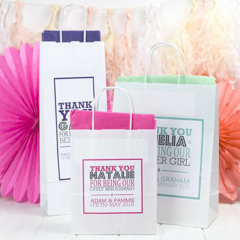 Wedding Gift Paper: PERSONALISED WEDDING GIFT BAGS - PAPER PARTY FAVOURS WITH TISSUE