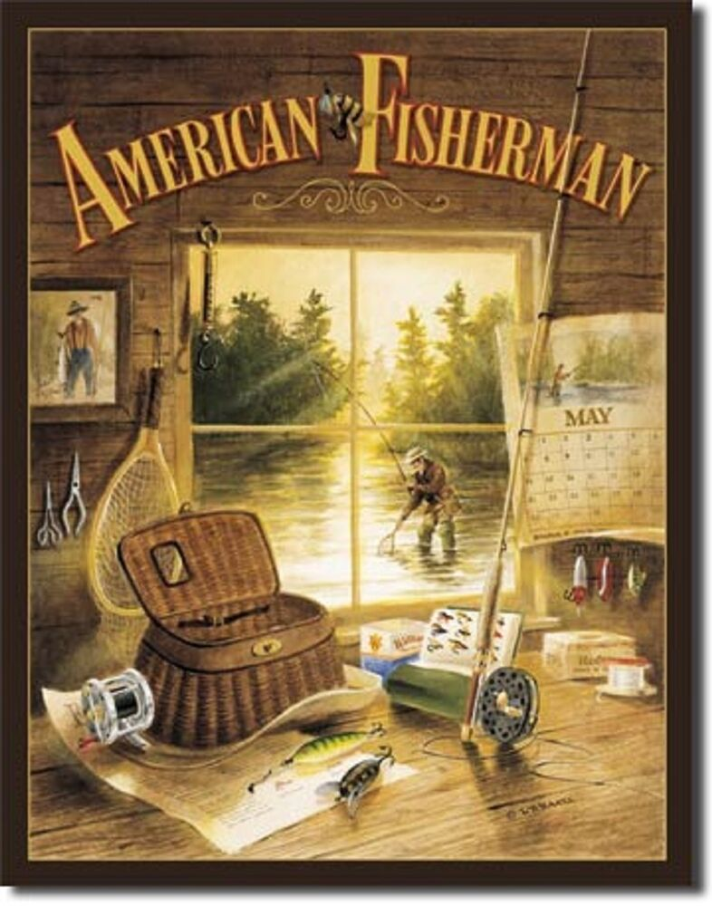 American fisherman tin sign fishing cabin home decor wall for Fly fishing decor