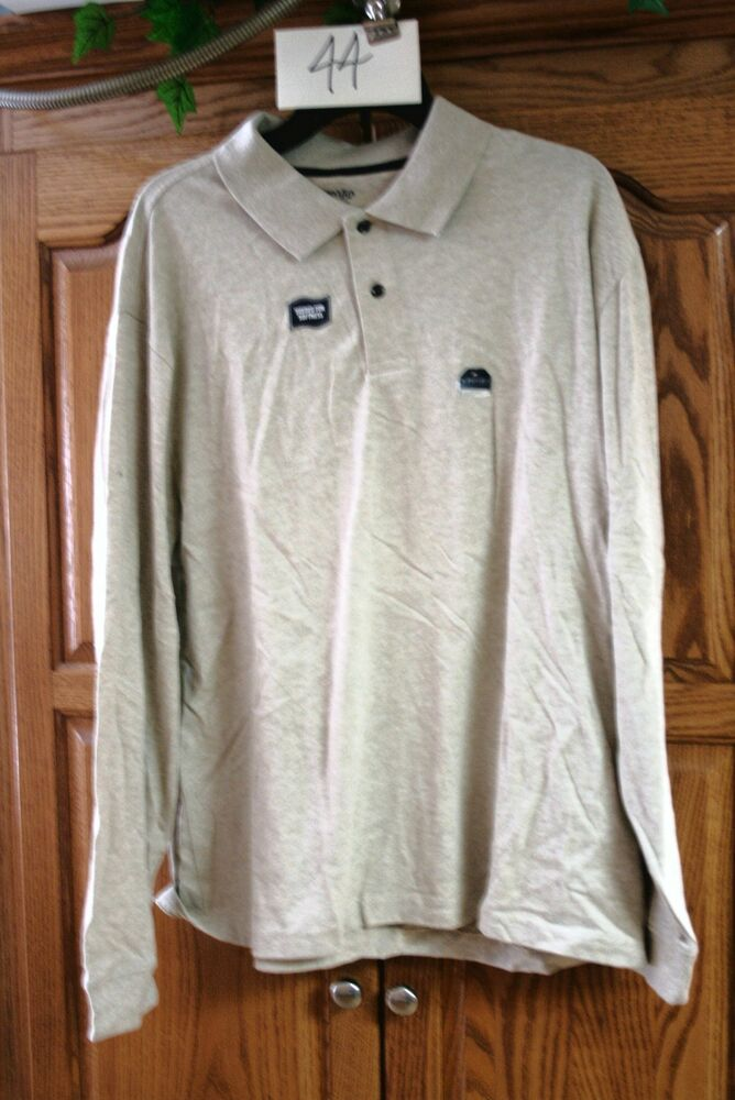 New Mens St Johns Bay Sueded Oatmeal Heather Long Sleeve
