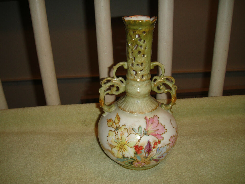 Hand Painted Vases With Gold Handles And Flowers