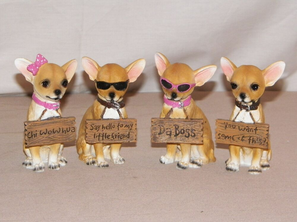 NEW ADORABLE CHIHUAHUA DOGS HOLDING SIGN STATUE FIGURE 4034