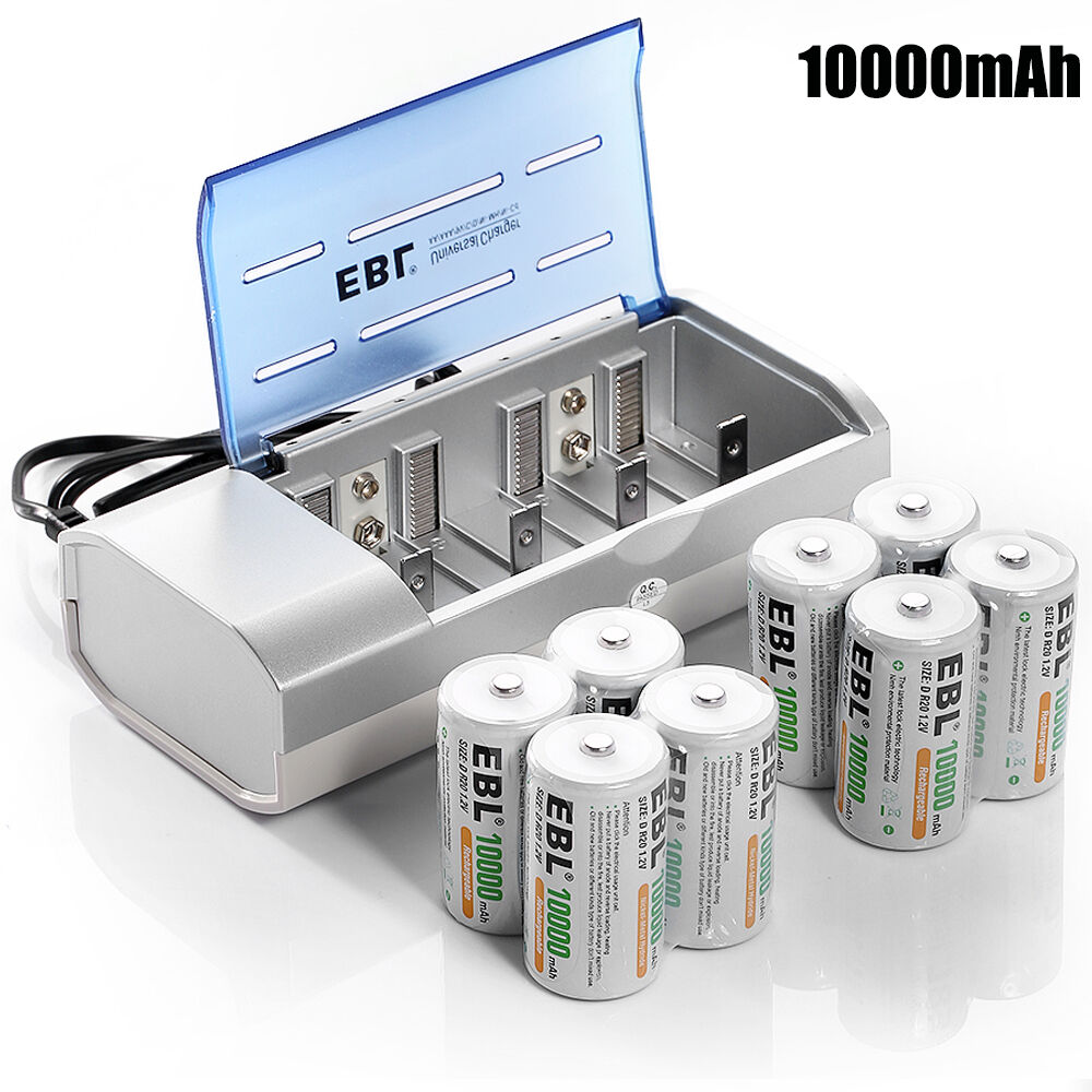 8x 10000mah ni mh d size rechargeable batteries aa aaa c d 9v battery charger ebay. Black Bedroom Furniture Sets. Home Design Ideas