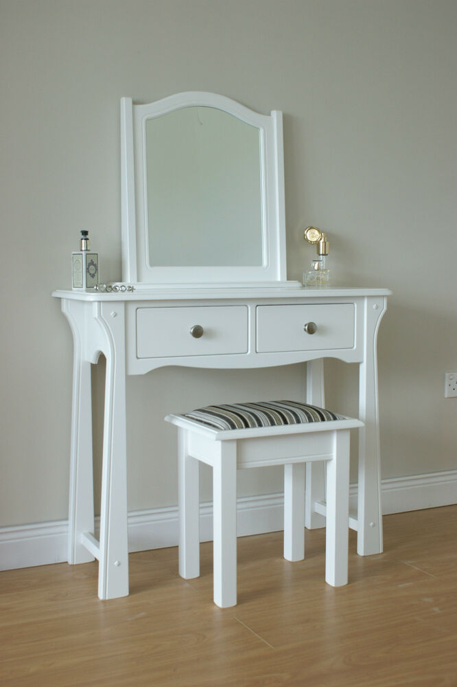 Mirrored Vanity Table And Stool: DRESSING TABLE / STOOL / MIRROR / WHITE / BEDROOM