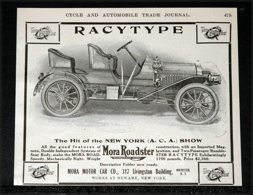 "1907 OLD MAGAZINE PRINT AD, MORA ""RACETYPE"" ROADSTER, HIT ..."
