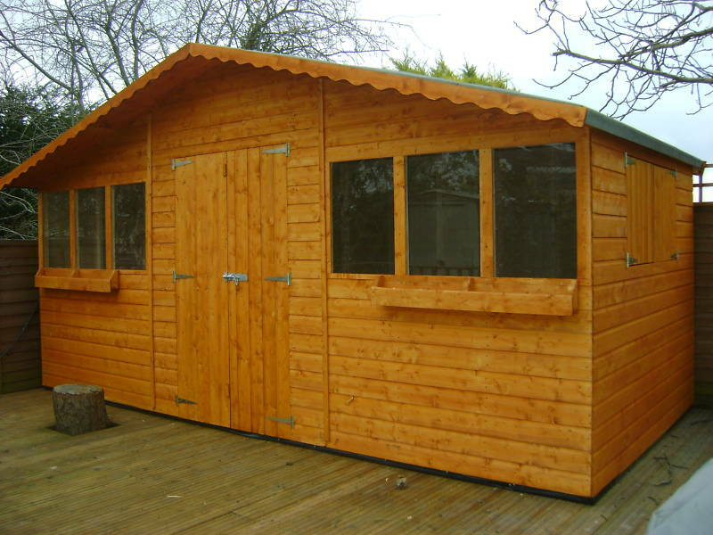 16ft x 8ft garden shed summer house with 1ft overhang for Garden shed tab