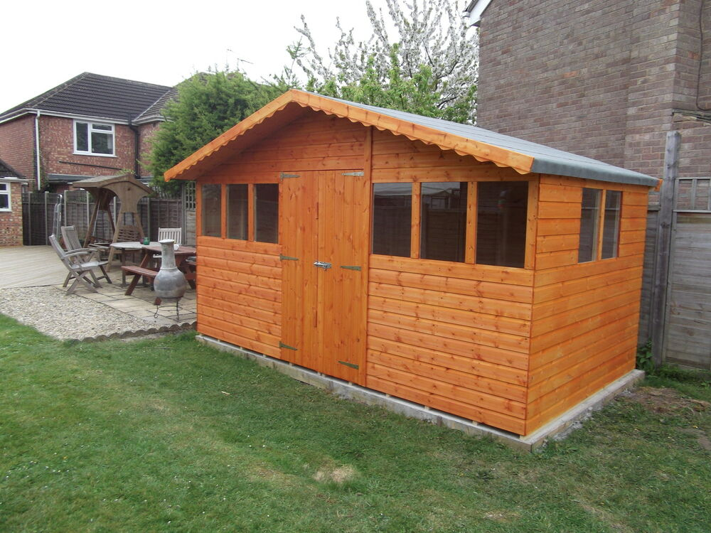 16ft x 10ft garden shed summer house with 1ft overhang high quality timber ebay - Garden sheds x ...