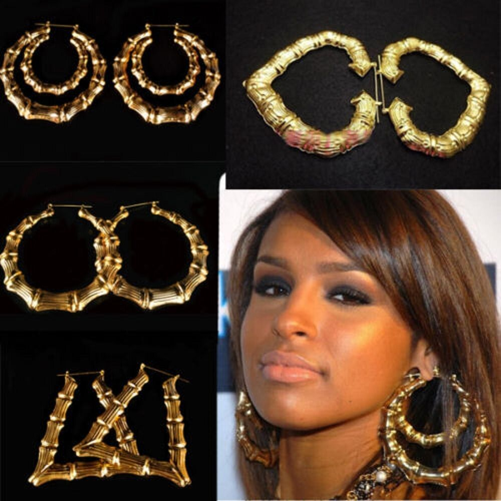 Large Bamboo Earrings Hip Hop Gold Ladies Hoop Bling