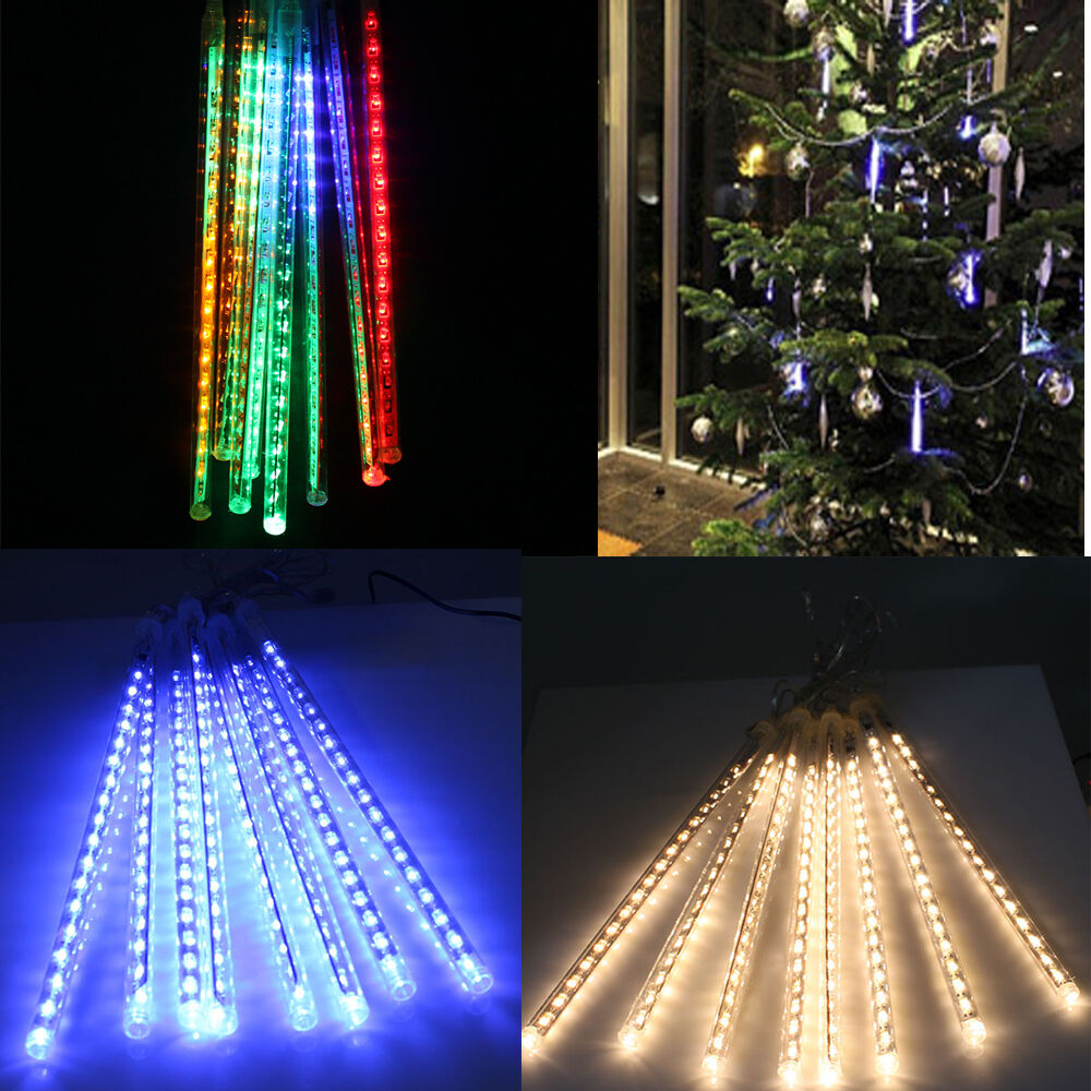 144 240 Led Meteor Shower Rain Light Tube String Christmas