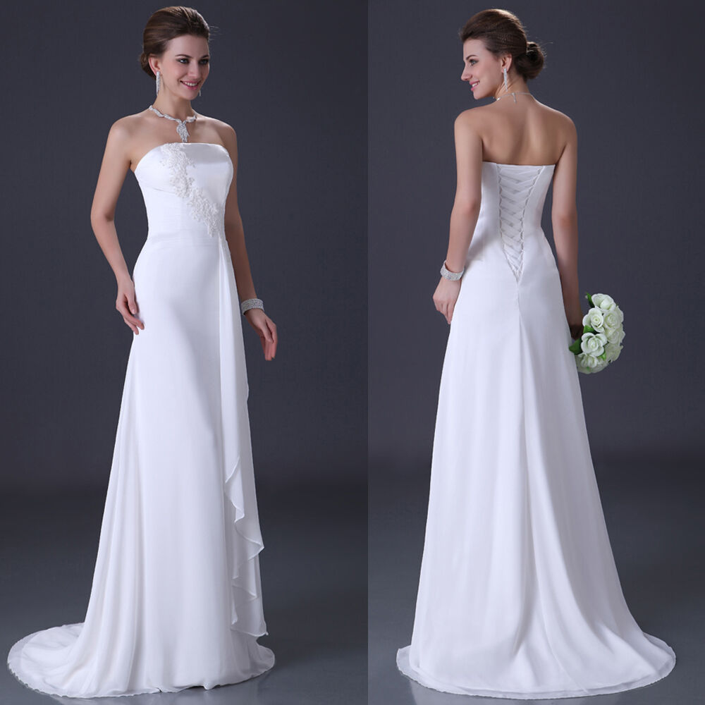 White ivory chiffon wedding dress women bridal dress us for Ebay wedding dresses size 12