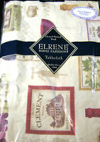 "FLANNEL-BACKED VINYL TABLECLOTHS BY ELRENE -""VINEYARD "" ASSORTED SIZES - NEW"