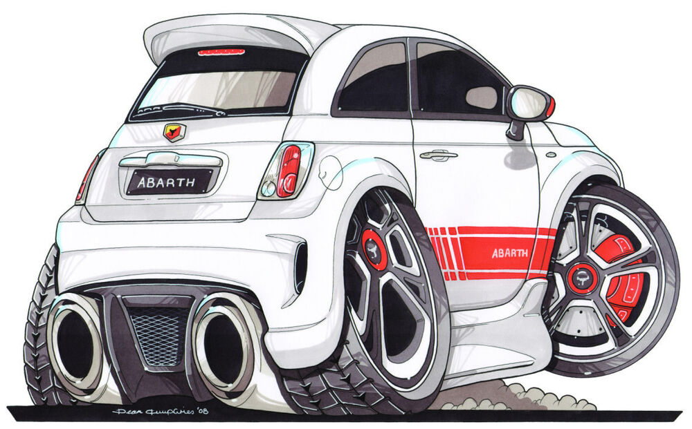 Fiat 500 Abarth Printed Koolart Cartoon T Shirt 2399 White