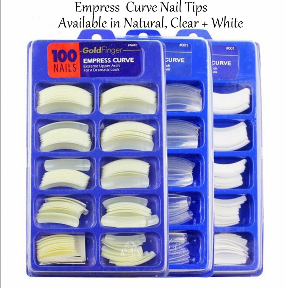 Empress Curve Nail Tip False Nail Half Cover - Goldfinger - 100 ...