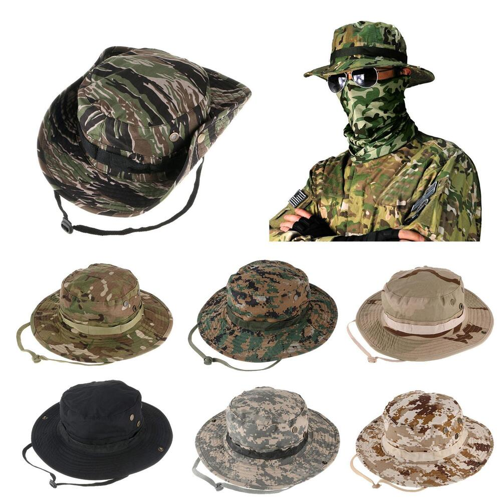 3b8875bd07c Details about Bucket Hat Wide Brim Military Hats Sun Hat Boonie Hunting  Fishing Outdoor Cap