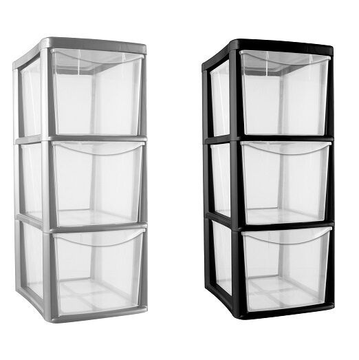 3 drawer plastic medium tower draw storage heavy duty school office home new ebay. Black Bedroom Furniture Sets. Home Design Ideas