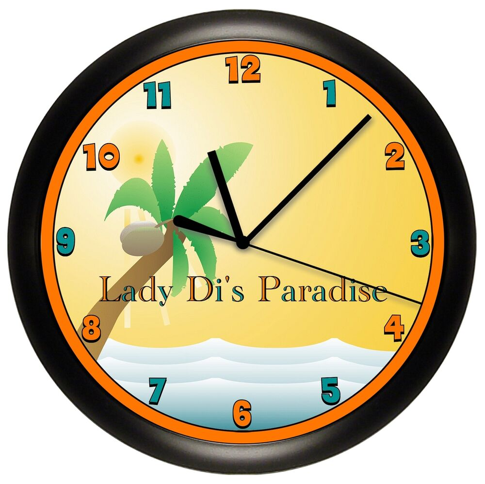 palm tree tanning salon clock wall personalized spa decor. Black Bedroom Furniture Sets. Home Design Ideas