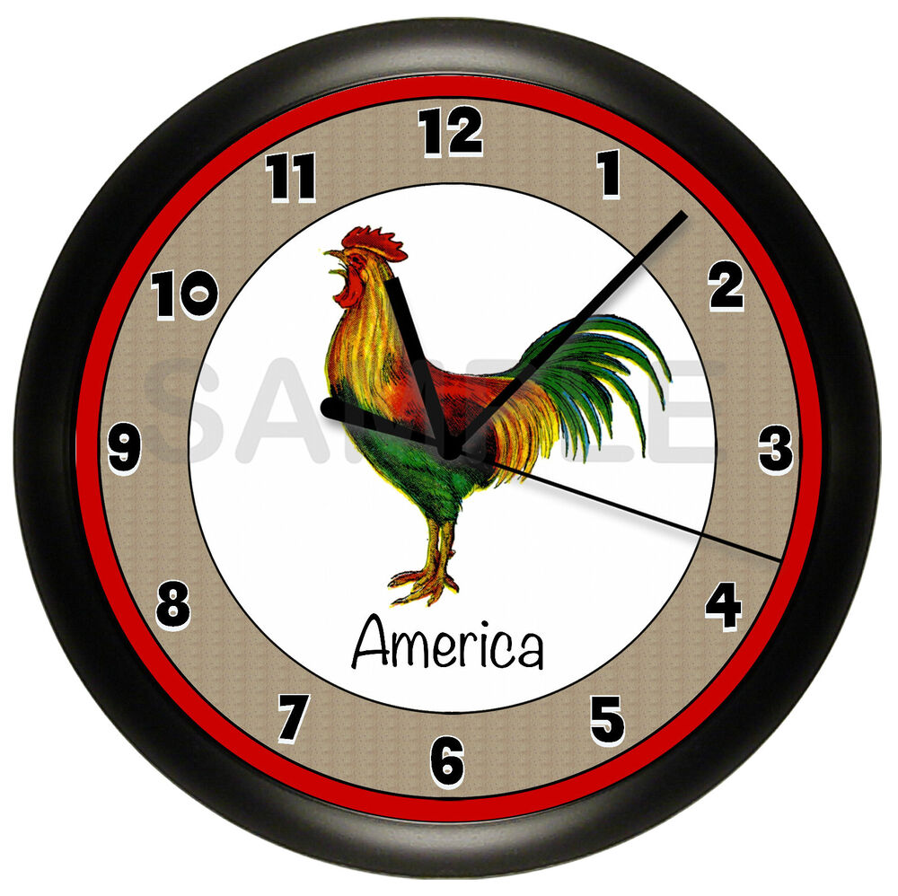 ROOSTER WALL CLOCK COUNTRY KITCHEN PERSONALIZED ADD YOUR
