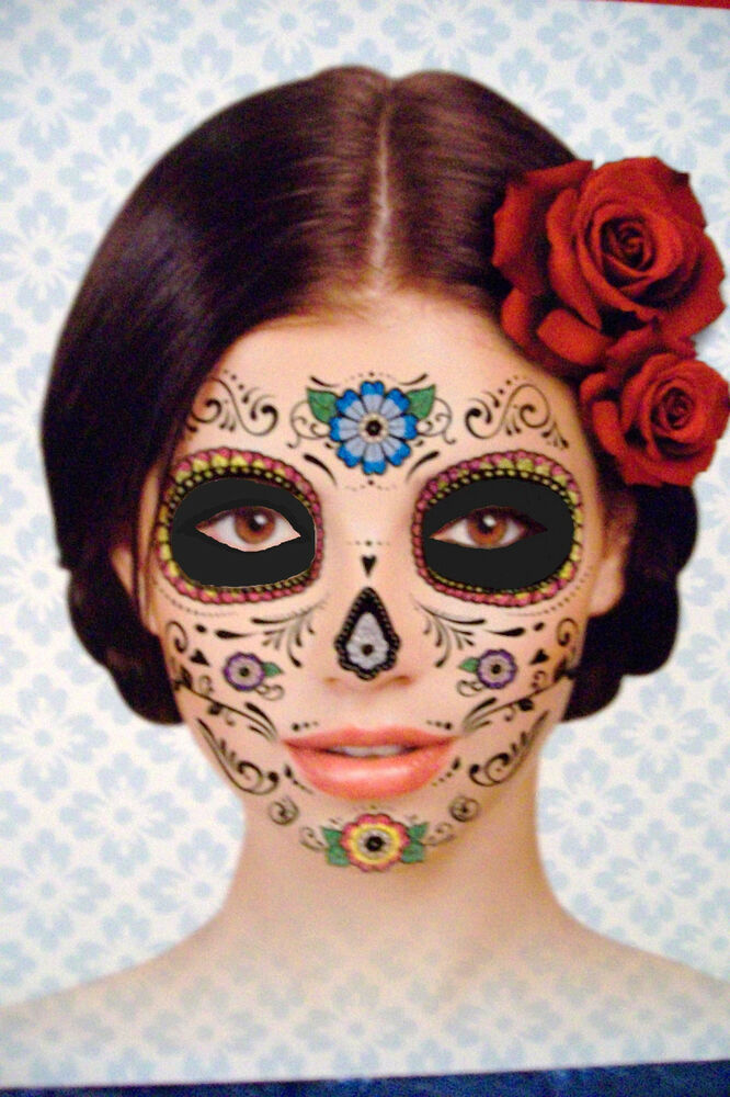 Day of the dead dia de los muertos temporary face tattoo for Face mask tattoo