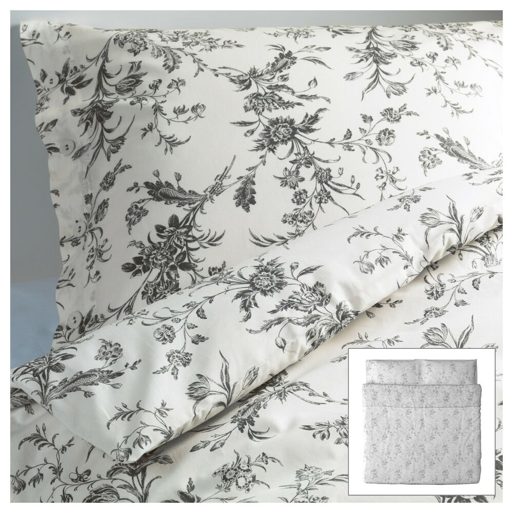 ikea alvine kvist 3pc set duvet quilt cover french country gray toile roses new ebay. Black Bedroom Furniture Sets. Home Design Ideas