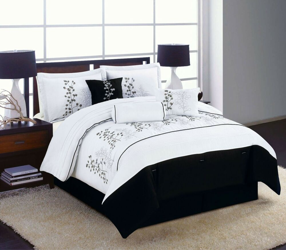 7pc King Size Bedding Comforter Set Black White Winter Blossom Embroidered Ebay
