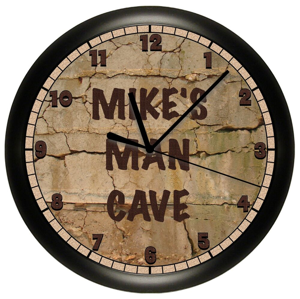 man cave wall clock personalized gift add a name free 10. Black Bedroom Furniture Sets. Home Design Ideas