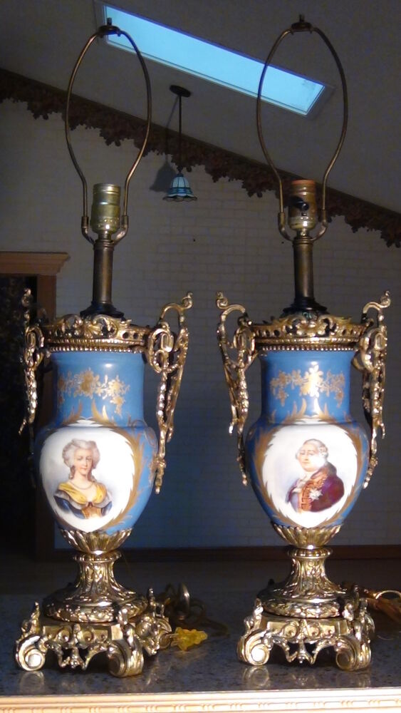PAIR ANTIQUE FRENCH SEVRES STYLE COBALT BLUE ORMOLU KING PORTRAIT LAMPS EBay