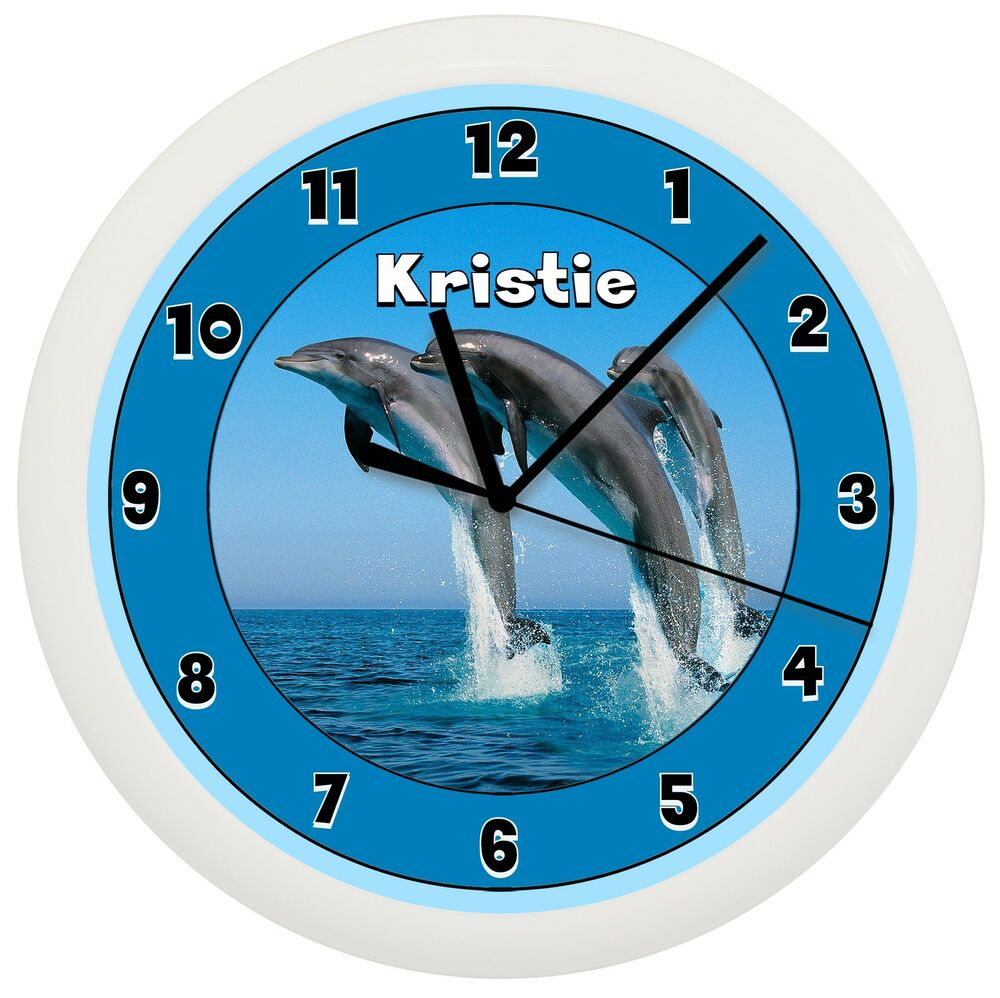DOLPHIN WALL CLOCK FISH PERSONALIZED ADD NAME FREE BLUE ...