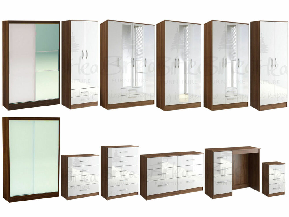 Lynx walnut white gloss bedroom furniture wardrobe chest for White gloss bedroom furniture