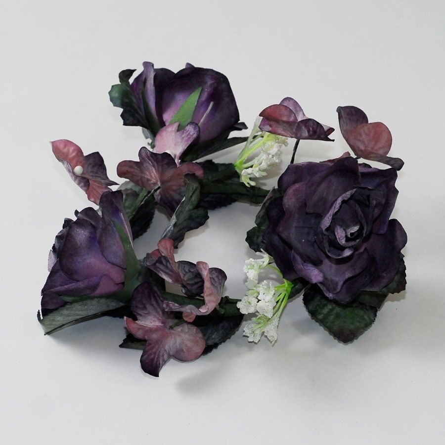 Dozen dark purple rose flower candle rings floral
