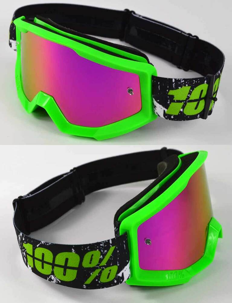 100 percent strata mx motocross goggles crafty lime green with pink mirror lens ebay. Black Bedroom Furniture Sets. Home Design Ideas