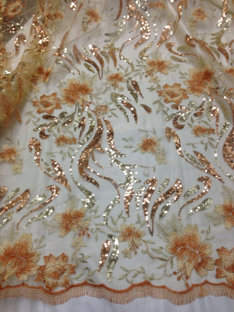 Gold mesh w floral embroidery sequins lace fabric