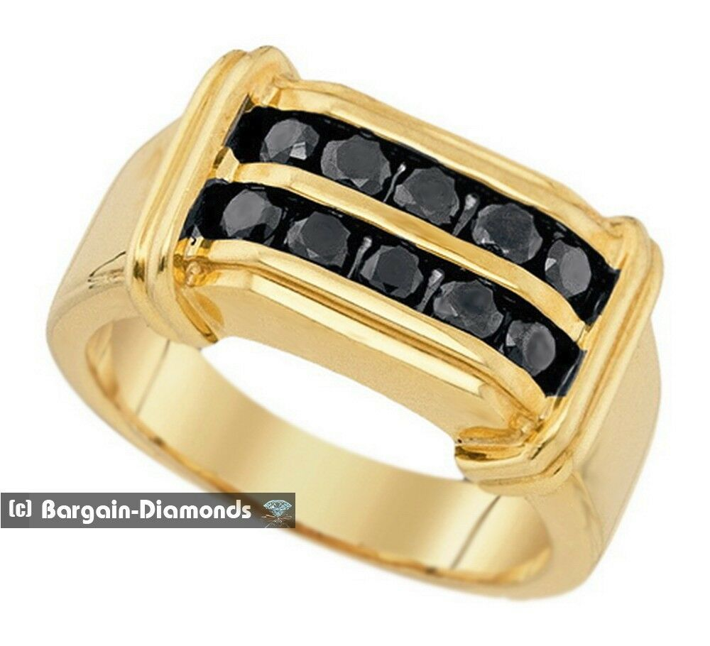 Mens black diamond carat wedding ring 925 yellow for Men s 1 carat diamond wedding bands