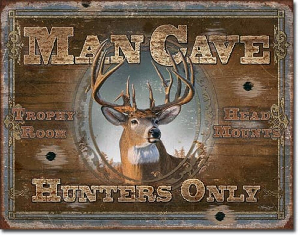 hunters only tin sign rustic hunt cabin art wall decor 1935 ebay