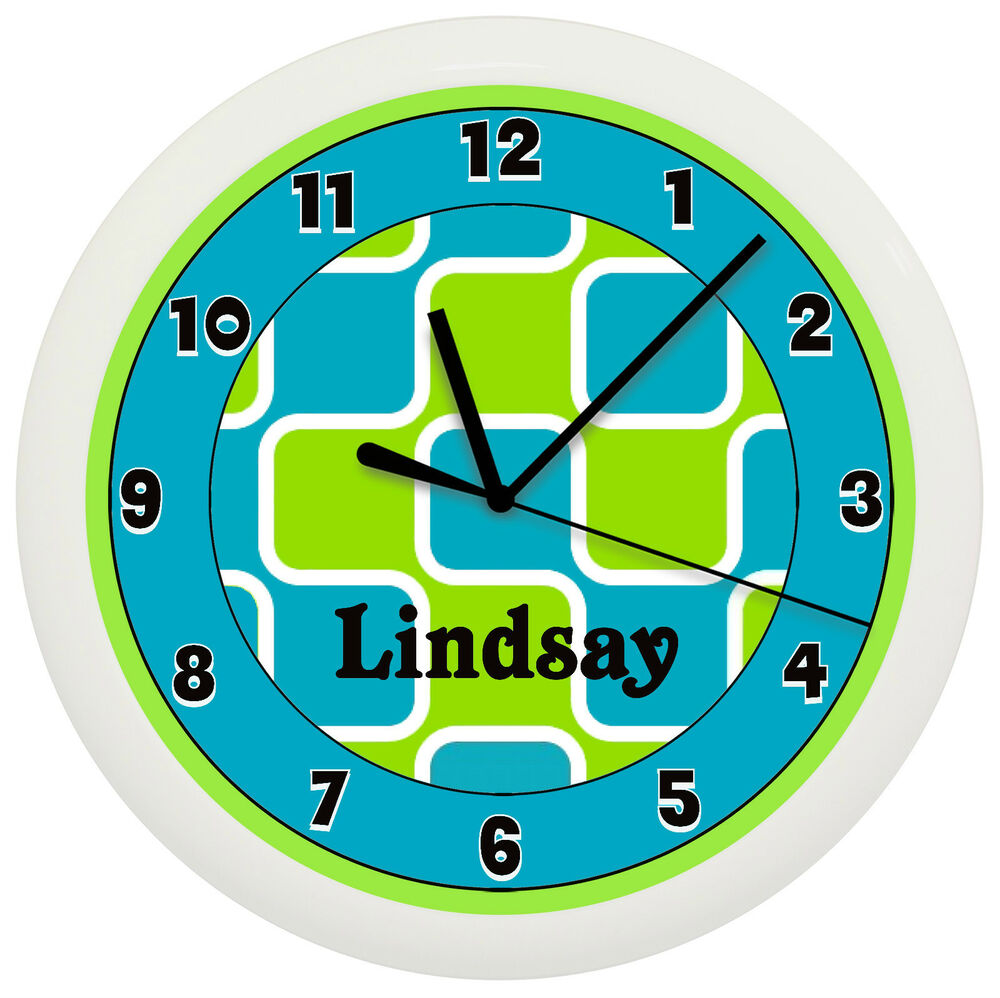 TEAL BLUE AND LIME GREEN WALL CLOCK GIRLS BEDROOM THEME ...