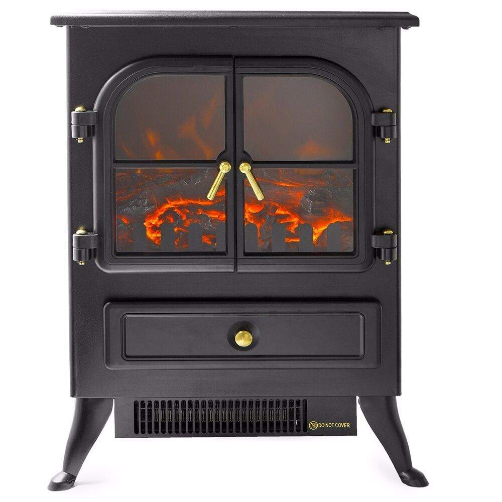 1500W Fireplace Standing Electric Heater Flame Wood Log