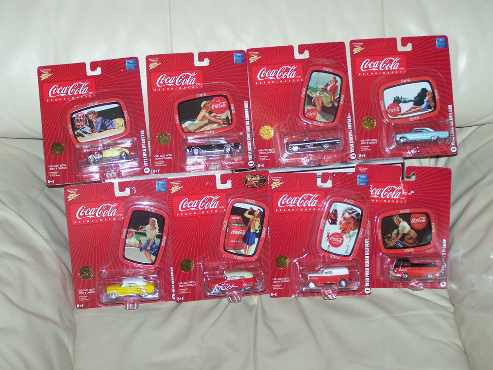 johnny lightning coca cola brand marque set w tin collector trays ebay. Black Bedroom Furniture Sets. Home Design Ideas