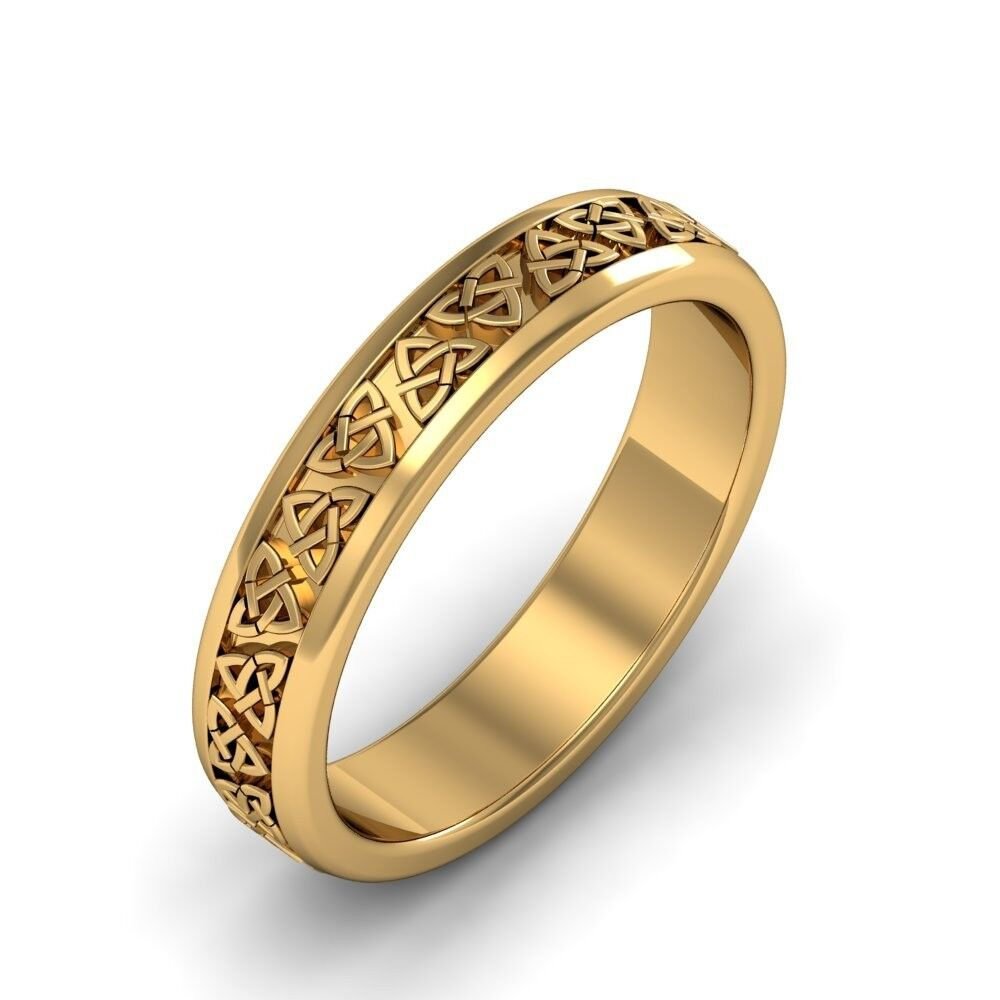 Ladies 14k Gold Irish Handcrafted Celtic Trinity knot ...
