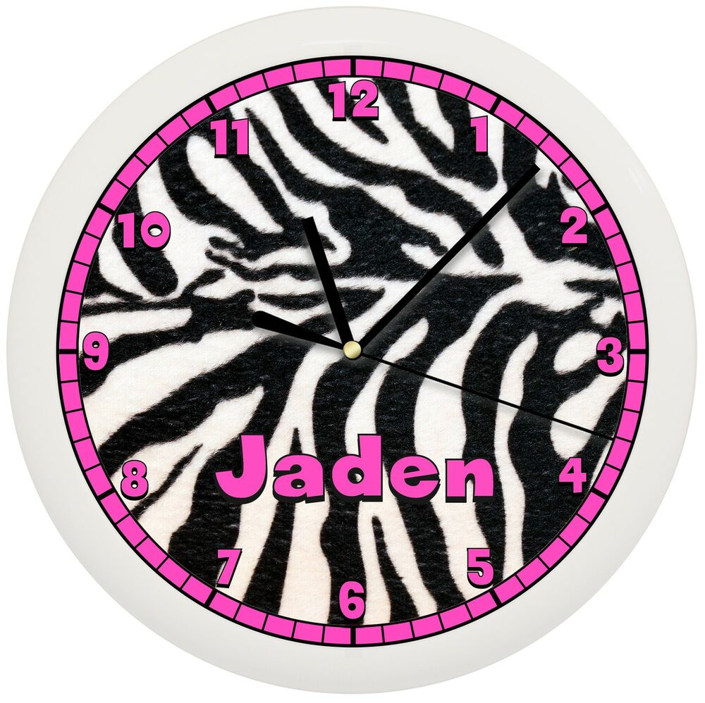 BLACK AND HOT PINK ZEBRA ANIMAL PRINT WALL CLOCK ...