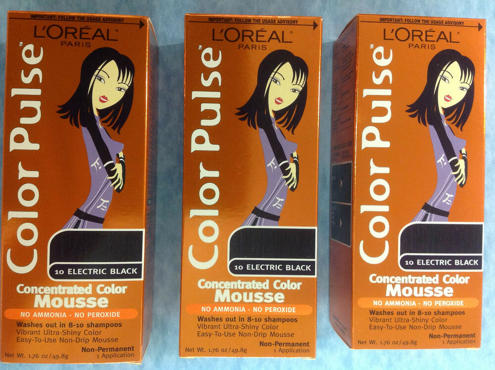 3 X L'Oreal Color Pulse Concentrated Color Mousse ( ELECTRIC BLACK #10) NEW.  | eBay