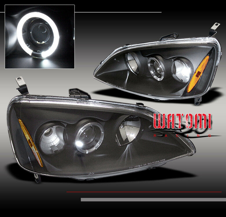 01 02 03 honda civic halo projector headlight lamp jdm. Black Bedroom Furniture Sets. Home Design Ideas